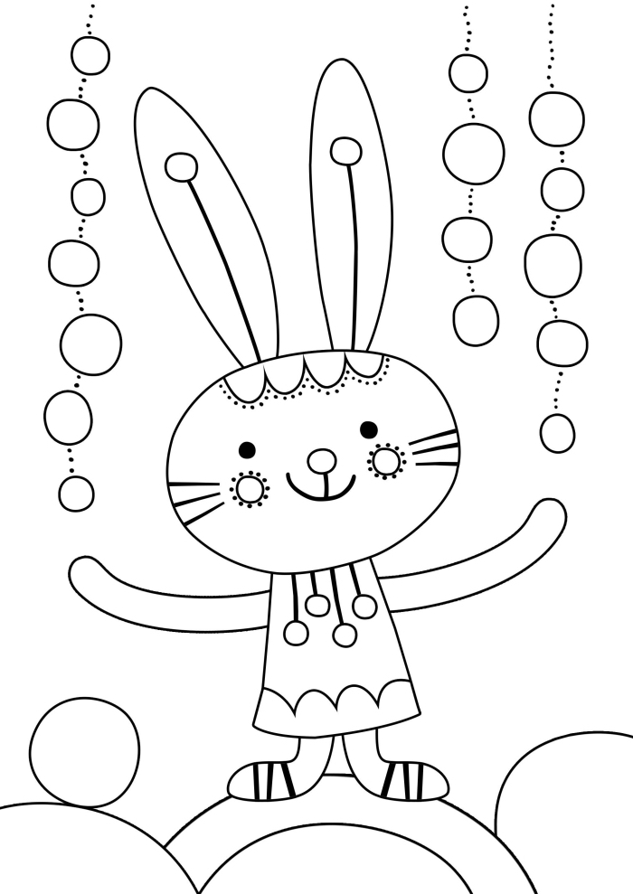 coloriage lapin facile pour enfant, exemple de dessin simple à colorier pour la fête de Pâques avec lapin