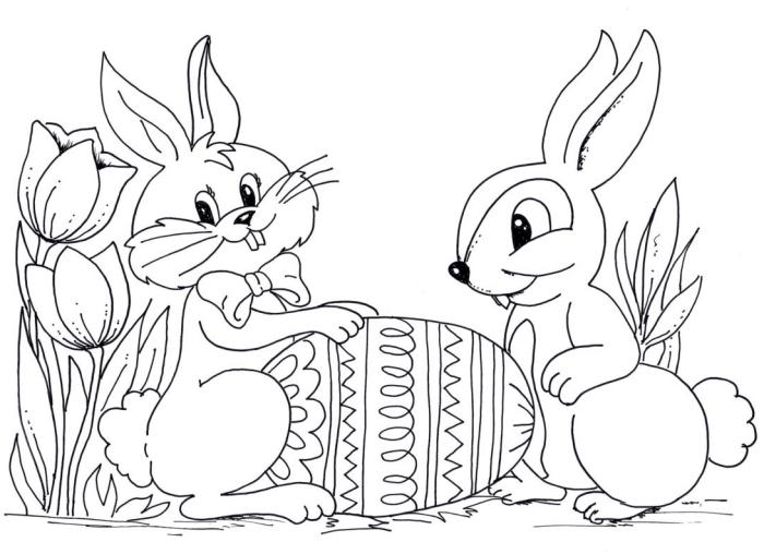 exemple de coloriage lapin facile avec fleurs et animaux, illustration jeu et amitié entre un lapin de Pâque et un écureuil