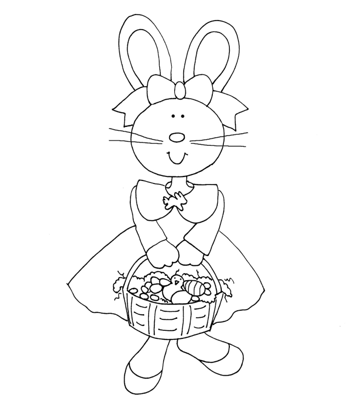 coloriage printemps facile pour enfant, idée de dessin simple à imprimer, coloriage pour petits avec lapin de Pâques