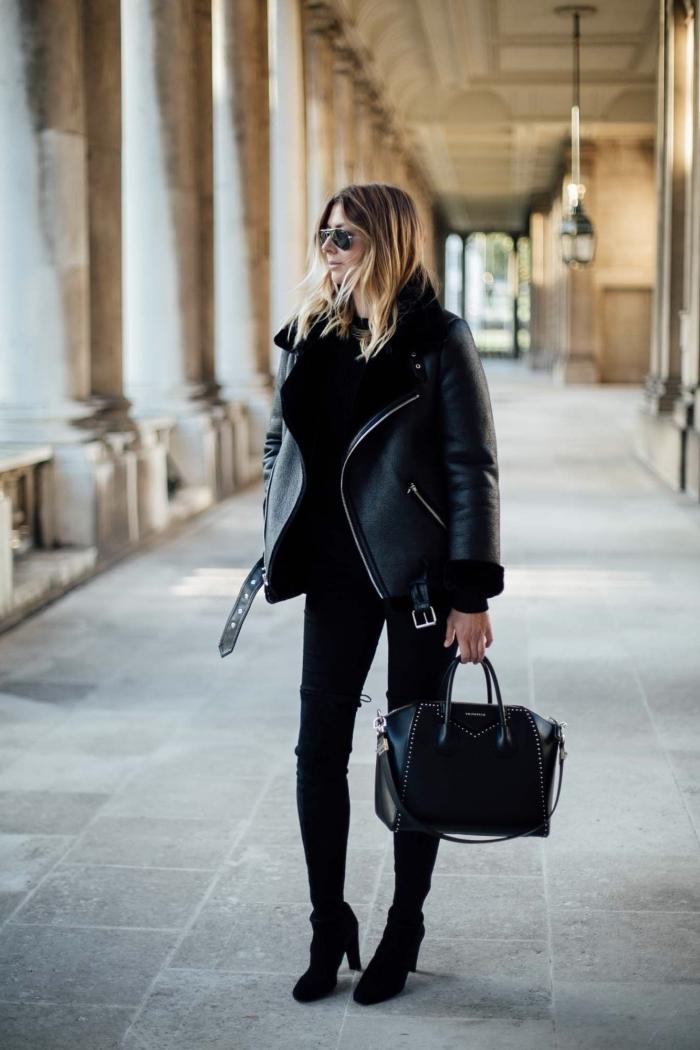 tenue femme chic en vêtements et accessoires noirs, idée de veste printemps femme noire à coupe oversize avec fermetures éclaires