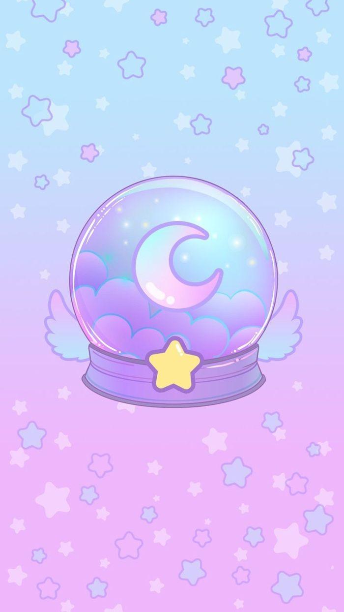 exemple de fond d écran pour fille arc en ciel avec boule à neige arc en cile avec lune a l interieur et fond étoilé arc en ciel