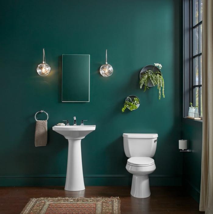 Décoration murale salle de bain peinture verte et plantes vertes, comment bien décorer dans la maison