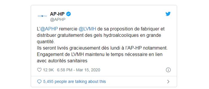 Bernard Arnault demande aux usines de parfums LVMH de fabriquer du gel hydro alcoolique à destination des hôpitaux de Paris