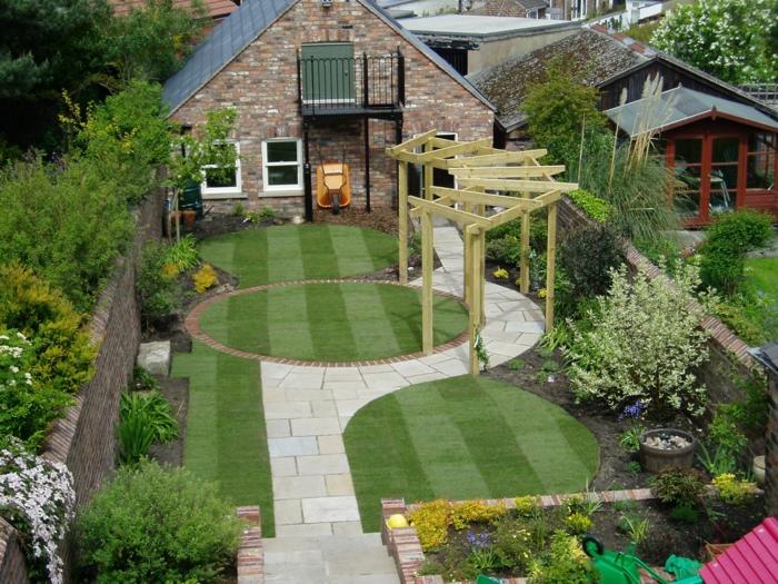 Pergola en bois, idée comment ranger la terrasse, idee amenagement jardin, idee jardin paysagiste et coin meublé