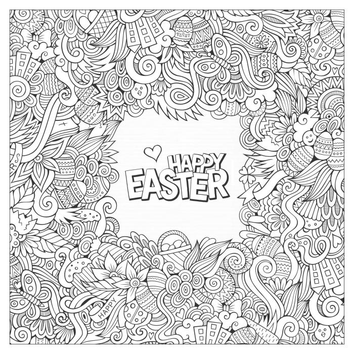coloriage printemps facile pour adultes, art-thérapie facile pour adultes à motifs mandala, dessin mandala pour Pâques