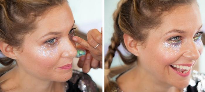 comment réaliser un coachella makeup avec peu de produits, make-up festif avec gel pailleté sous les yeux et mascara