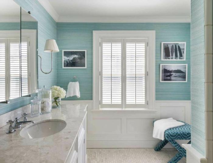Cool idée classique salle de bain meuble lavabo marbre et bois blanc, peinture vert d'eau, moderne salle de bain design en vert aigue marine