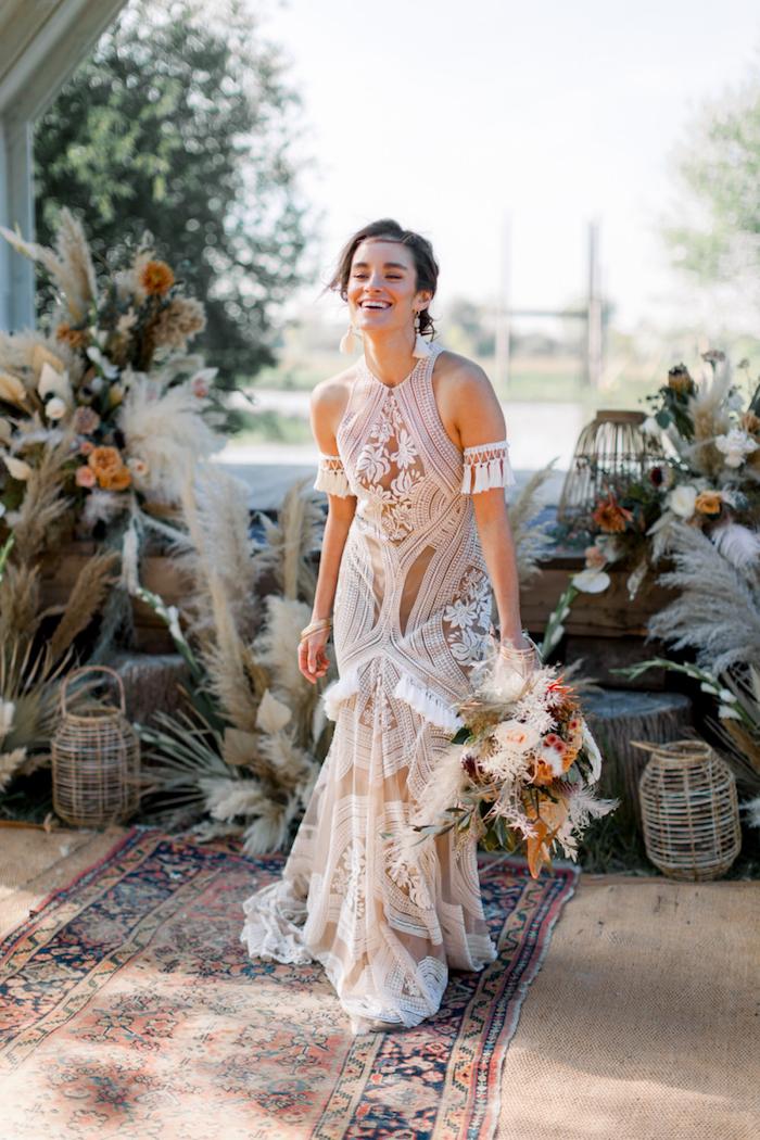 Joyeuse mariée robe champetre deco table champetre, comment décorer la réception de mariage