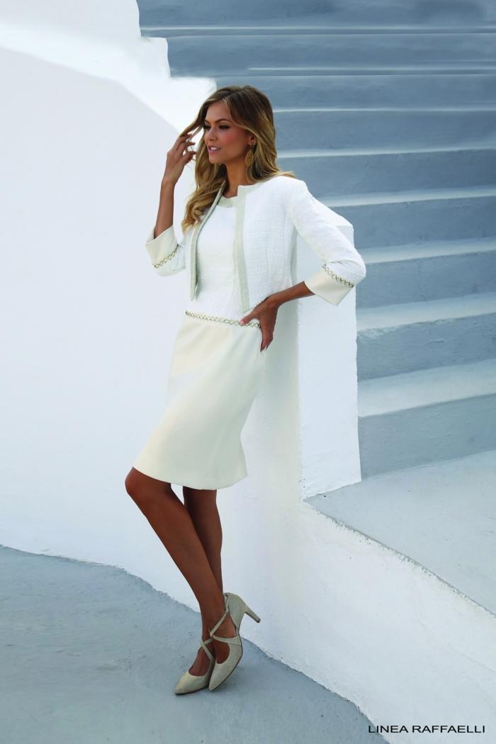 Robe blanche courte et veste au meme style, ensemble tailleur femme pour mariage, tailleur habillé pour cérémonie