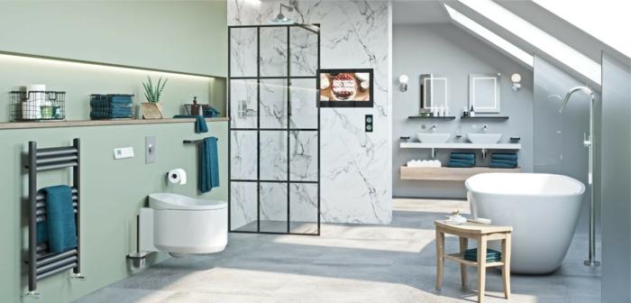 Claire couleur peinture salle de bain vert menthe et marbre blanche, savoir associer les couleurs