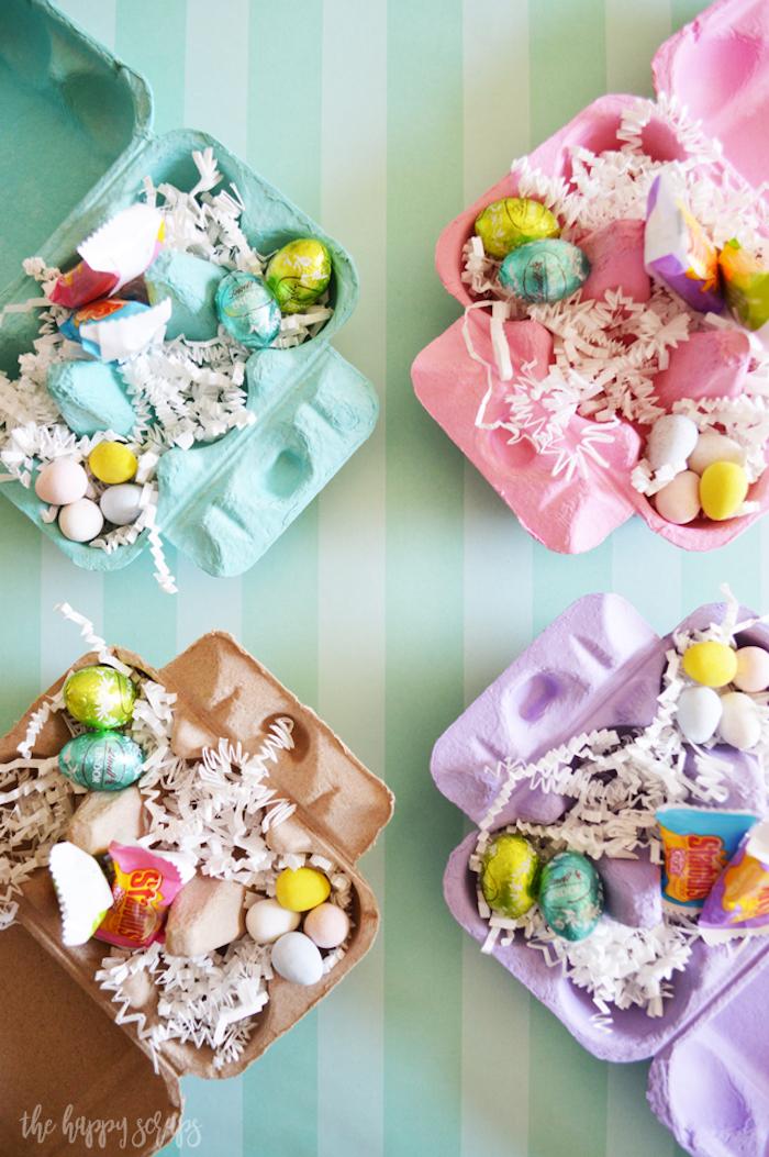Oeuf de paques au chocolat dans cartons d'oeufs colorés idée cadeau maison, cadeau paques bébé symbolique pour la fete