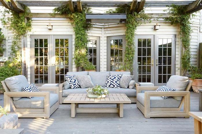 Terrasse amenagement exterieur jardin, idee jardin paysagiste avec coin de repos meubles salon jardin
