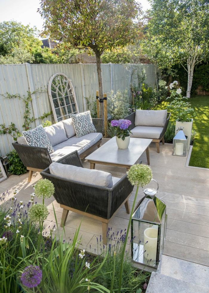 Miroir grand au gardin paysagiste, idée amenagement petite terrasse, amenagement jardin photos de mobilier extérieur
