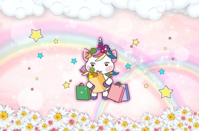 fond d écran licorne kawaii smple avec petite licorne kawaii avec des achats sur fond arc en ciel et des marguerites en bas