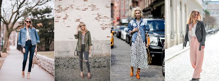quel modèle de veste printemps porter en 2020, look casual chic en veste denim et jeans foncés avec chaussures à talons