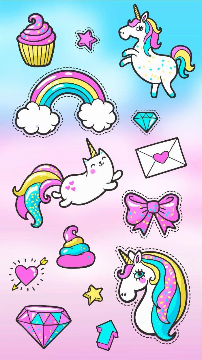motifs d animaix, chats, licrones, coeurs arc en ciel idee de plusieurs motifs kawaii sur fond arc en ciel pour votre fond ecran coloré