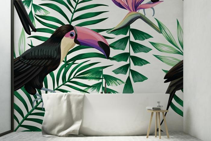 Mur dessin d'oiseaux et plantes exotiques, quelle couleur pour une salle de bain, déco petite salle de bain