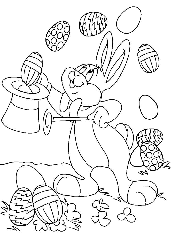 coloriage oeuf de paques rigolo, idée de dessin ludique à colorer avec lapin et oeufs décoré, modèle illustration de Pâque rigolo
