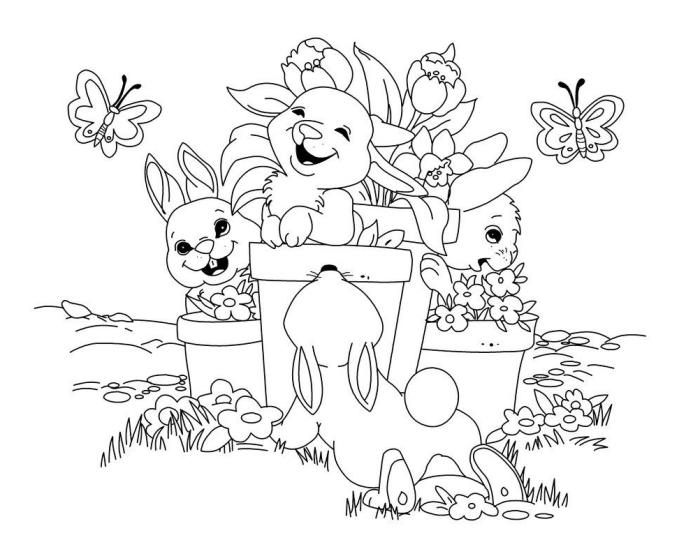 coloriage lapin rigolo à imprimer, idée de dessin facile à colorer avec petits lapins dans un jardin avec fleurs et papillons