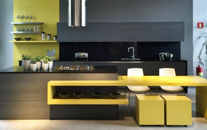 Jaune et gris deco bleu cuisine couleur tendance, savoir comment décorer chaises blanches de bar haut