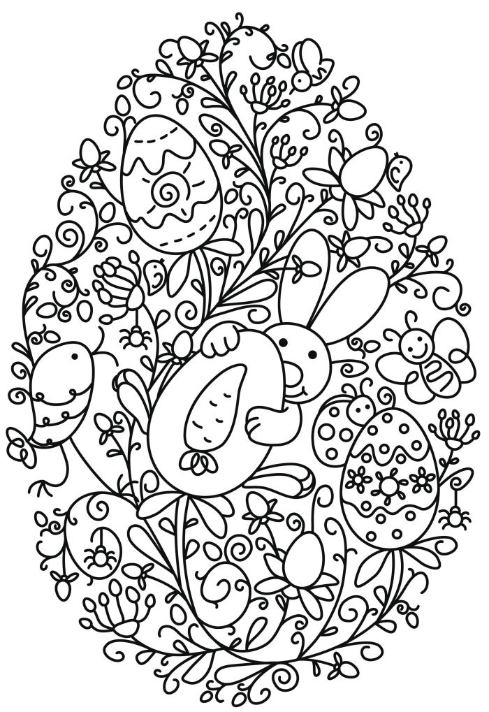 coloriage facile pour enfant, idée dessin simple sur thème de Pâque, dessin gros oeuf à motifs lapins et feuilles