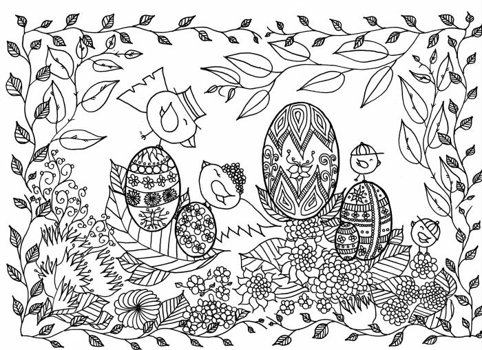 coloriage printemps pour méditation, idée coloriage mandala pour adulte, illustration mandala sur le thème de Pâques