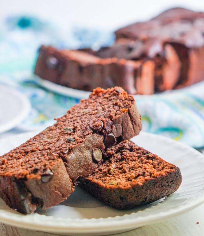 petit dejeuner minceur pour votre regime keto, comment faire pain à la courgette e farine d amande au cacao et pepites de chocolat