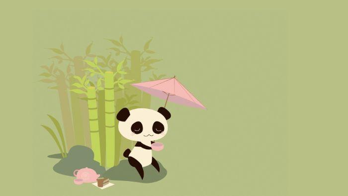 fond ecran japonais style kawaii, image de panda kawaii à côté de bambou avec parasol rose kawaii