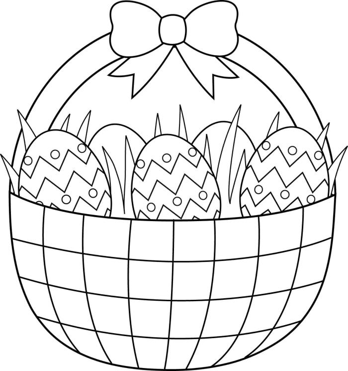 dessin oeuf de paques simple pour petits, coloriage facile pour enfant sur le thème de Pâques avec oeufs