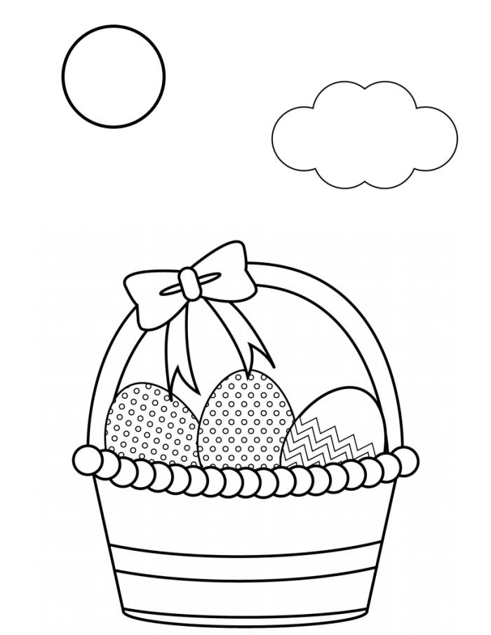 coloriage paques facile pour enfant, modèle de coloriage sur le thème de Pâques avec panier rempli d'oeufs décorés
