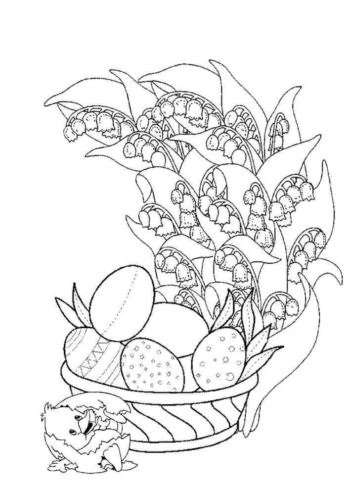 idée de coloriage maternelle simple à colorier pour enfant, exemple de dessin facile à imprimer pour la fête de Pâques