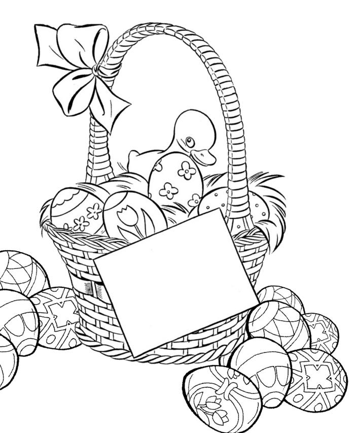 coloriage printemps simple à imprimer, exemple de dessin facile à colorier avec panier de pâques et oeufs