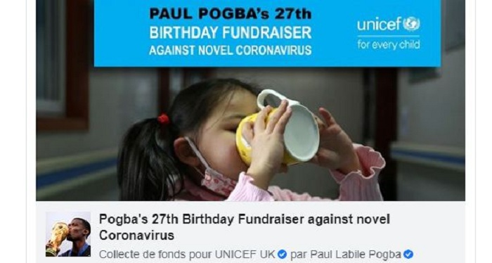 Parmi les célébrités du sport, Paul Pogba lance une cagnotte caritative sur Facebook à l'occasion de son anniversaire