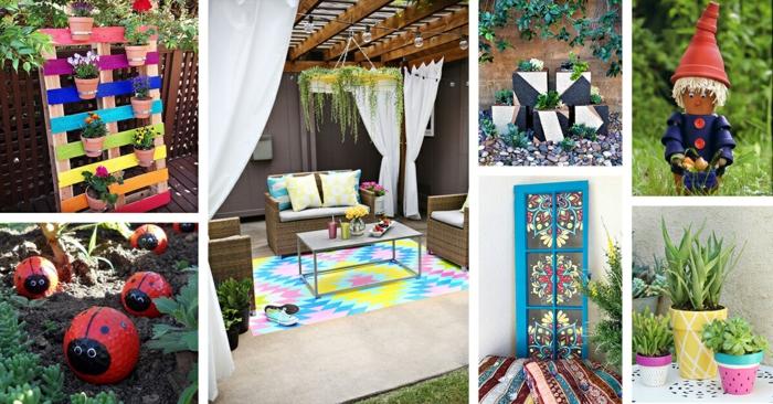 DIY projets activité créative pour déco terrasse moderne, amenagement terrasse jardin style décoration coloré
