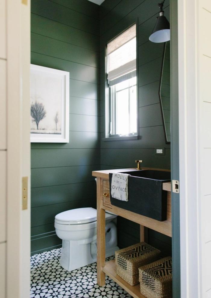 Petite salle de bain toilette simple meuble lavabo en bois modele de salle de bain, aménagement petite salle de bain verte