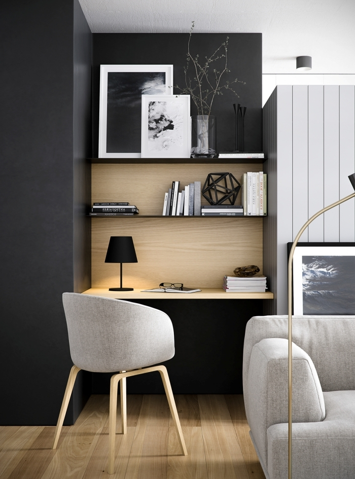 comment faire un coin de travail moderne dans un salon contemporain, idee bureau petit espace suspendu avec espace rangement