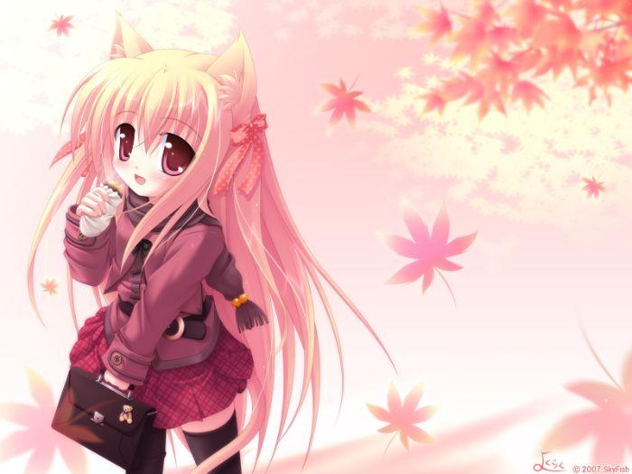 fond d écran manga fille de couleur rose sur theme fond cran automne, idee image manga à imprimer