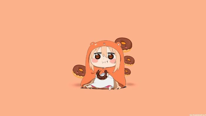 fille manga en pyjama mignonne en train de manger des donuts sur fond saumon, exemple image fond ecran mignonne