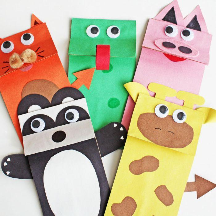 animaux mignons en sac de papier kraft coloré à motifs animal, activité manuelle facile en papier