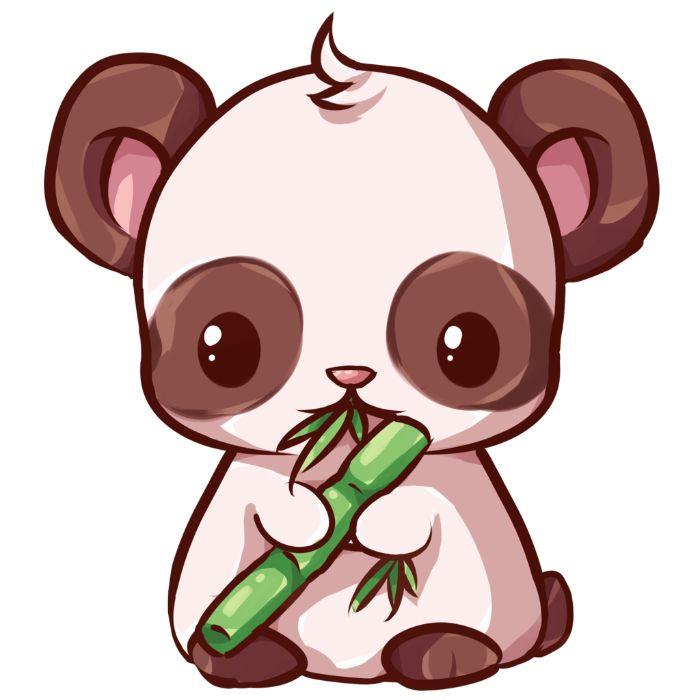 dessin de panda kawaii mignon pour fond ecran en train de manger bambou, idee image de fond bureau originale