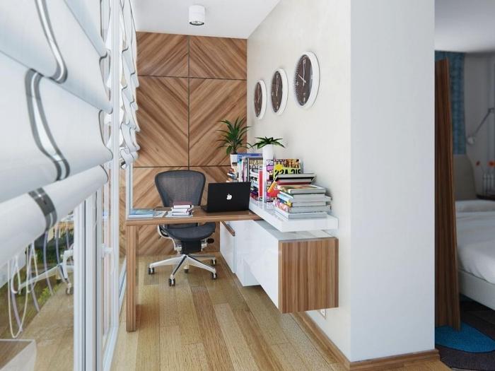 exemple comment bien aménager un petit bureau dans un couloir aux murs en blanc et bois avec meuble bureau et rangement