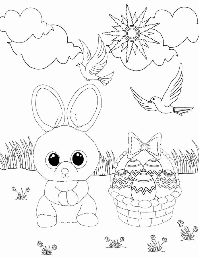 coloriage maternelle facile pour la fête de Pâques, idée de dessin simple à imprimer et colorier pour enfants