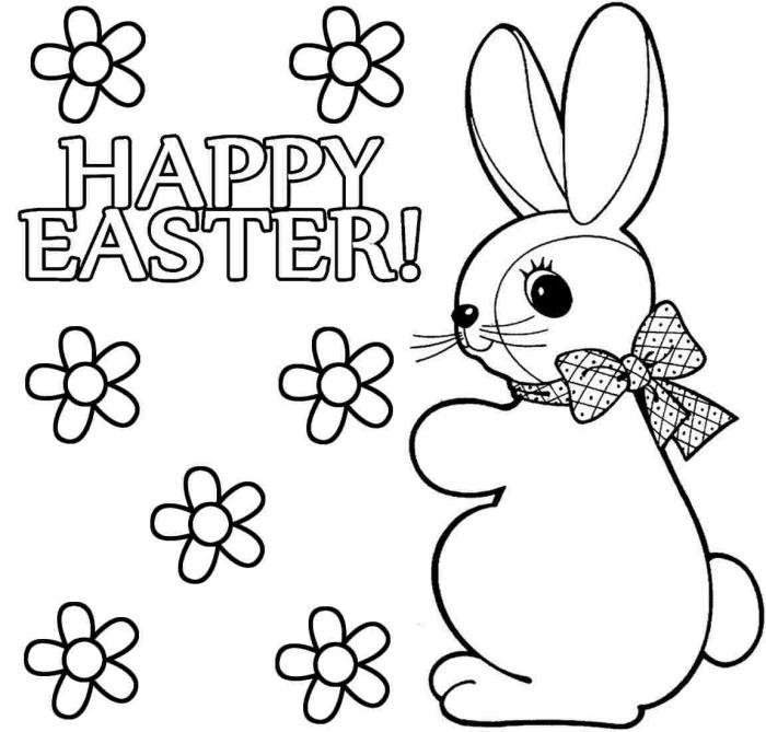 coloriage printemps simple avec petit lapin et fleurs, illustration de Pâques simple à imprimer et colorier pour les petits