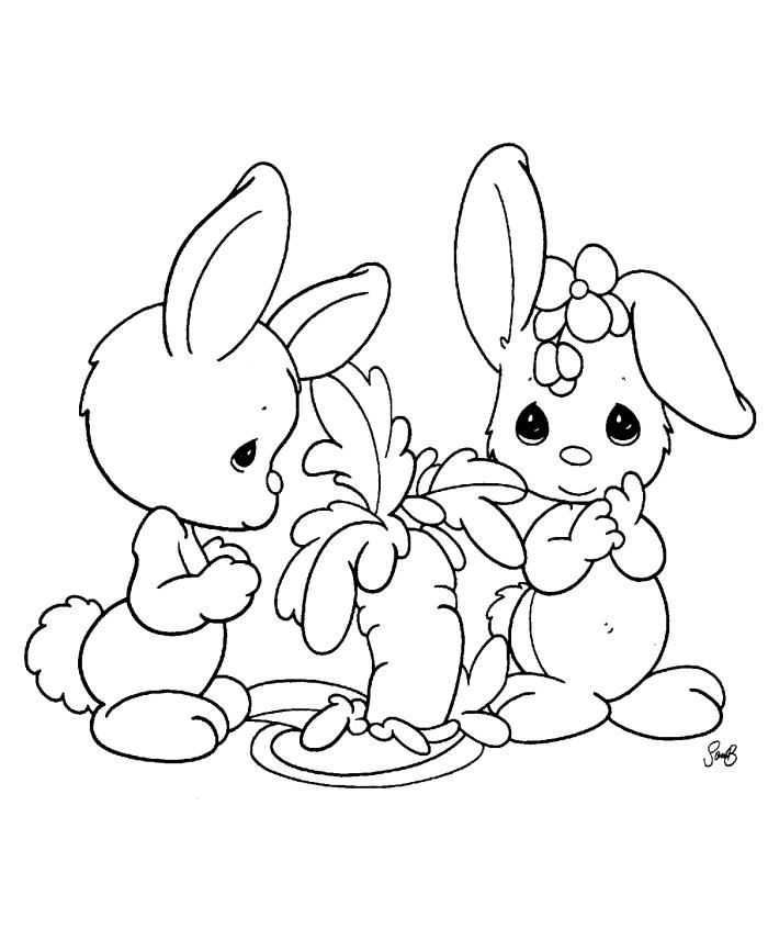 coloriage facile pour petits, idée de dessin simple à imprimer avec deux lapins amis, illustration de Pâques avec lapins mignons