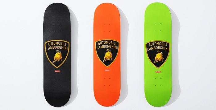 Planche de skate Supreme Board aux couleurs de la collab avec Lamborghini