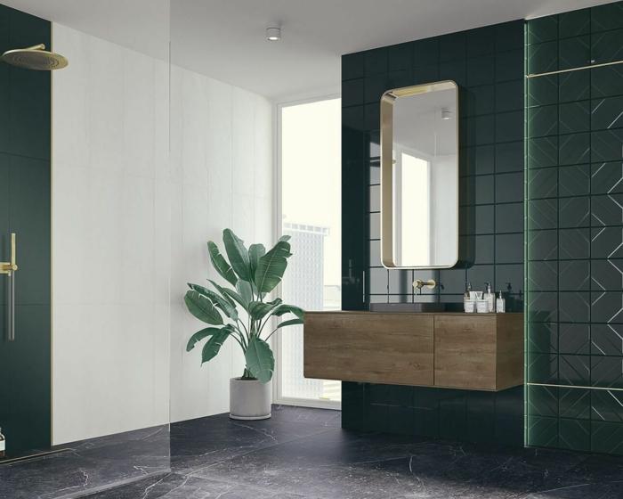 Sol en marbre gris, plante verte géante, carrelage vert, photo décoration murale salle de bain, idee salle de bain verte
