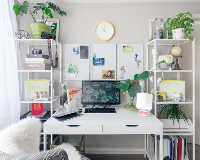 comment décorer son bureau à domicile avec objets exotiques, exemple comment personnaliser un bureau blanc laqué