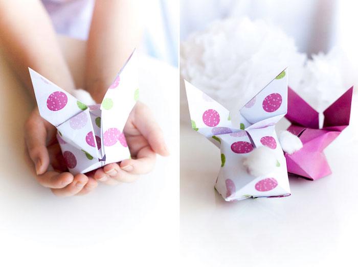 Pliage papier coloré pour former un lapin idee cadeau original de paques, cadeau a faire soi meme facile