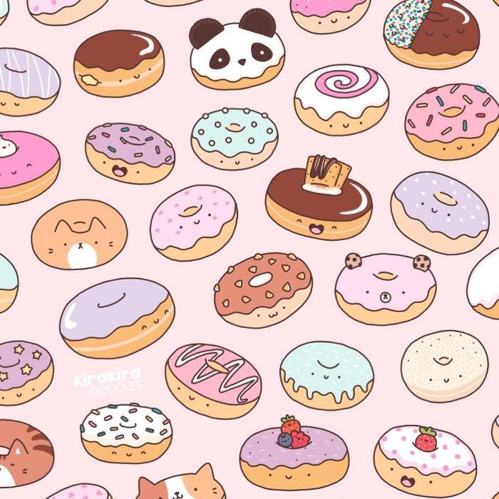 nourriture donut kawaii avec glacage et decoration colorée, idee originale de nourriture mignonne