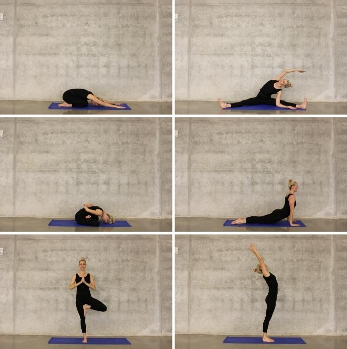 exercice sport maison pour débutant, postures de yoga facile pour commencer à s'entraîner à la maison, idée de sport maison